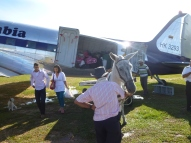 Horse and carriage to offload our 1947 DC3 plane in the Macarena