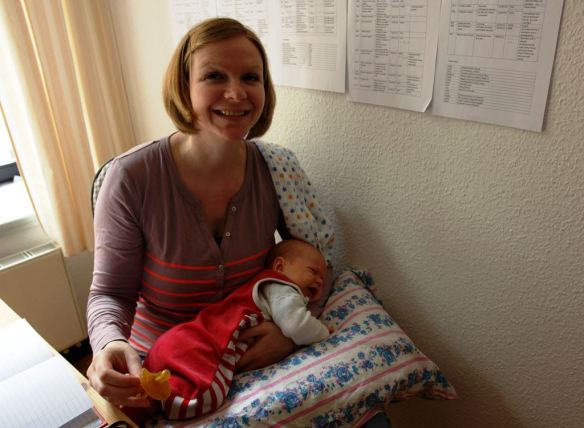 Susan Hoppert-Flaemig with her baby